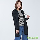 bossini女裝-連帽長版開襟罩衫黑