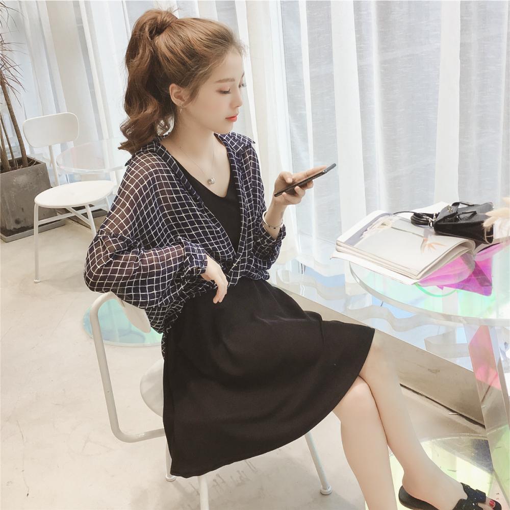 中大尺碼格子雪紡襯衫加黑色V領顯瘦背心裙套裝XL~4L-Ballet Dolly