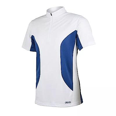 GFun 男立領吸濕快乾排汗衫 - 白藍(G6URSM1-WHITE)