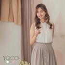東京著衣-YOCO 簡約氣質雪紡拼接蕾絲領多色上衣-S.M.L(共三色)