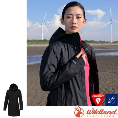 Wildland 荒野 0A72901-54黑色 女長版PR棉防水外套