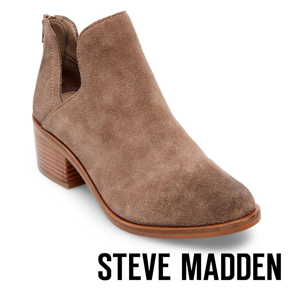 STEVE MADDEN-LANCASTER絨面美型粗跟拉鍊短靴-絨灰