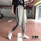 JILLI-KO 韓版顯瘦鬆緊腰九分束口運動褲- 灰色