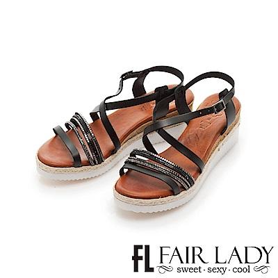 Fair Lady PORRONET 交叉繞帶厚底楔型涼鞋 黑