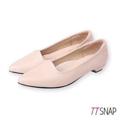 TTSNAP尖頭鞋-MIT羊紋後跟沙發真皮低跟鞋 膚