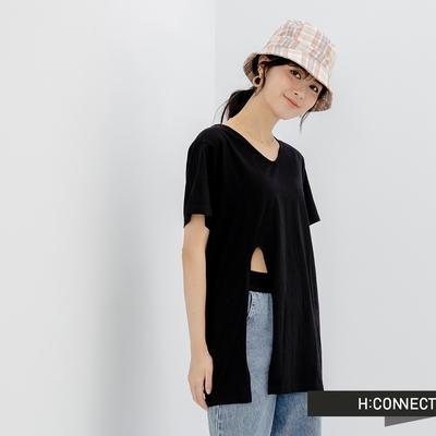 H-CONNECT 韓國品牌 女裝- 圓領純色側開衩短袖長版上衣-黑
