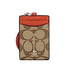 COACH LOGO馬車PVC皮革證件套票卡夾 棕色LOGO皮革x橘色