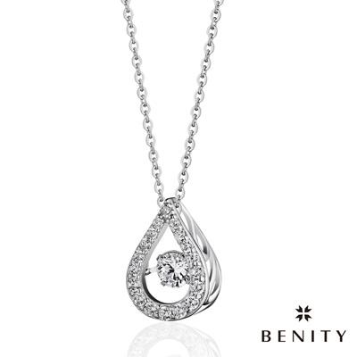 BENITY 注視 八心八箭cz美鑽 925銀 鍍白金 女項鍊