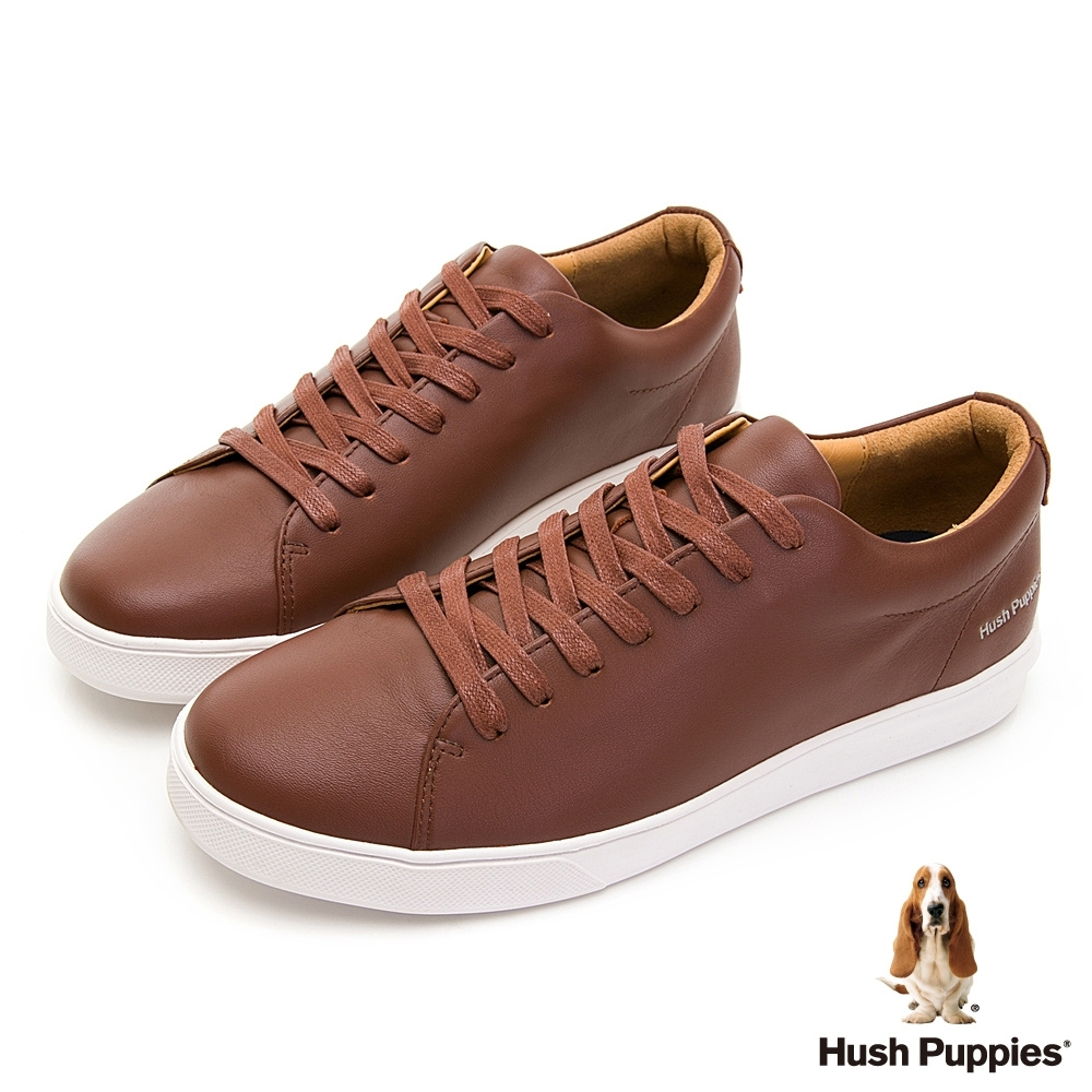 Hush Puppies 質感皮革休閒球鞋-咖啡色