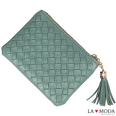 La Moda 女孩最愛手工編織設計小巧零錢包卡包(綠)