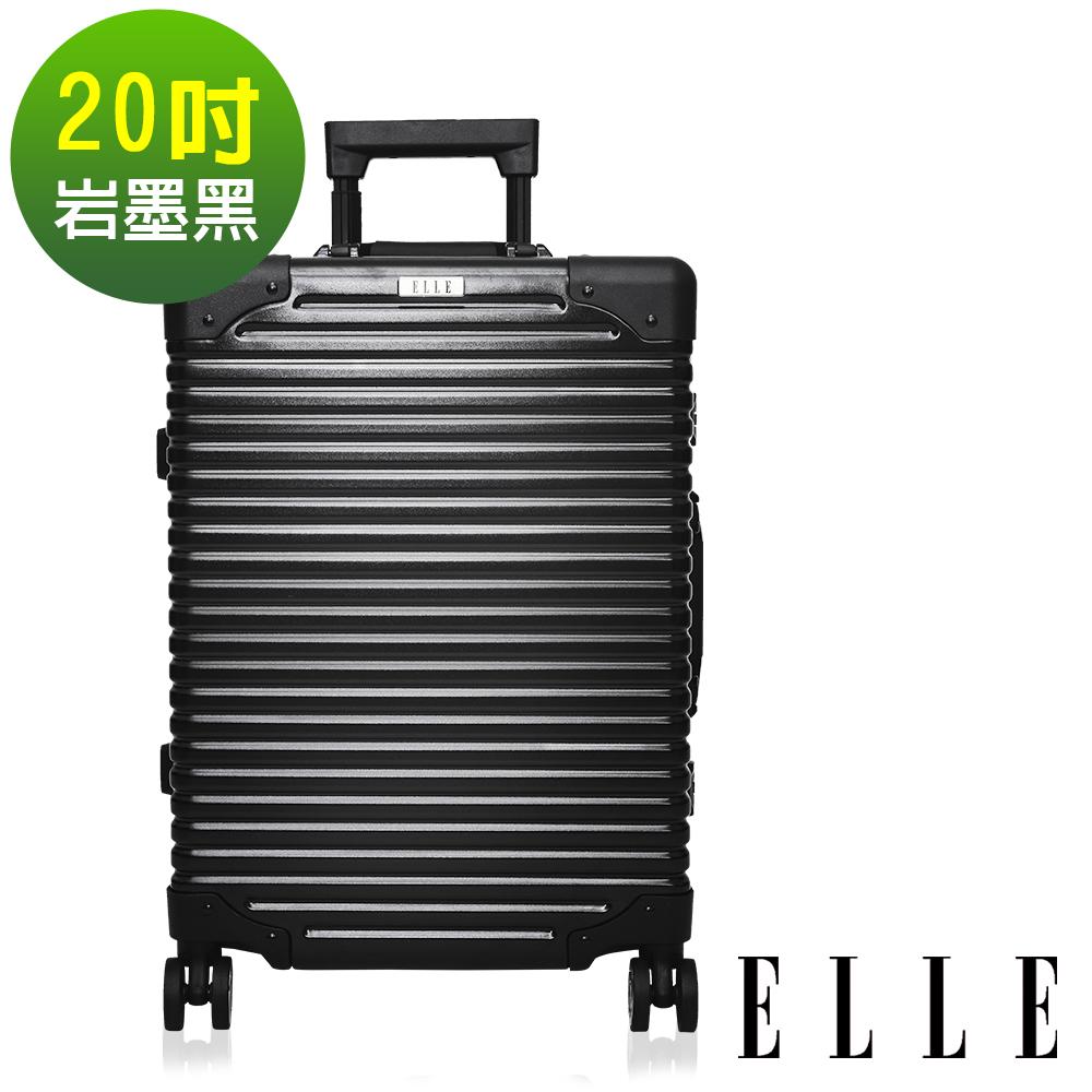 福利品 ELLE Brutus復古假期系列- 20吋裸鑽霧面純PC橫條紋鋁框行李箱-岩墨黑