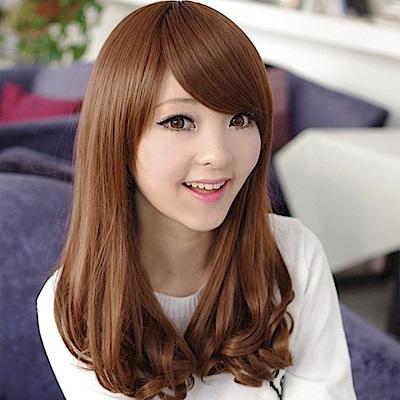 米蘭精品 女假髮整頂中長假髮-可愛齊瀏海捲髮尾女美髮用品4色69o20