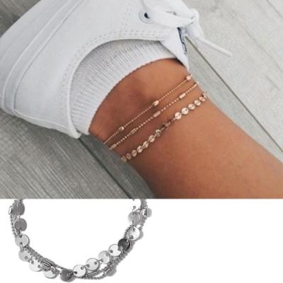 Hera 赫拉 時尚三層亮片珠鍊腳鍊/手鍊-2色