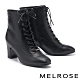 短靴 MELROSE 復古質感綁帶方頭造型高跟短靴-黑 product thumbnail 1