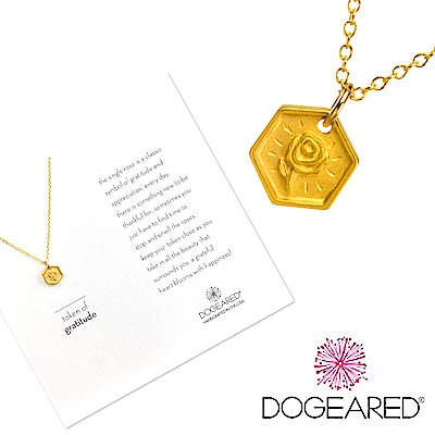 Dogeared token of gratitude 完美六邊形金色項鍊 手工浮雕玫瑰