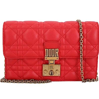 Dior DIORADDICT 頂級小羊皮籐格紋晚宴包(紅色)