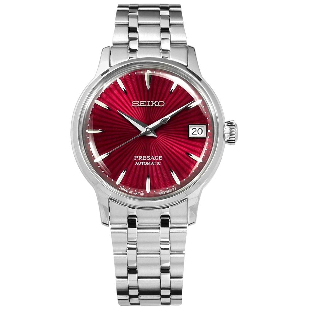 SEIKO 精工 PRESAGE 自動上鍊 不鏽鋼機械錶-酒紅色/34mm