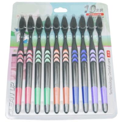 月陽超值10隻裝奈米竹炭纖柔刷毛牙刷 (321015)顏色隨機出貨