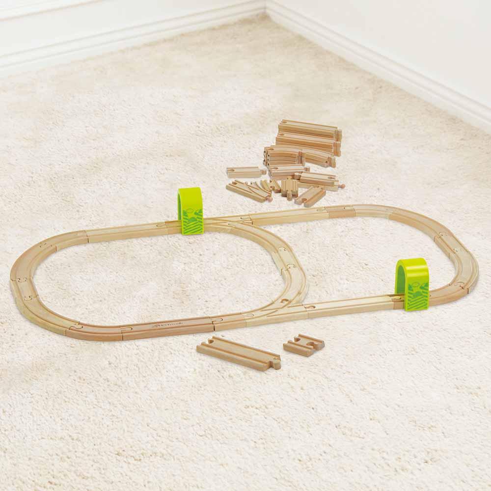 台灣 KCfriends 木製軌道車玩具-50PCS木製火車軌道