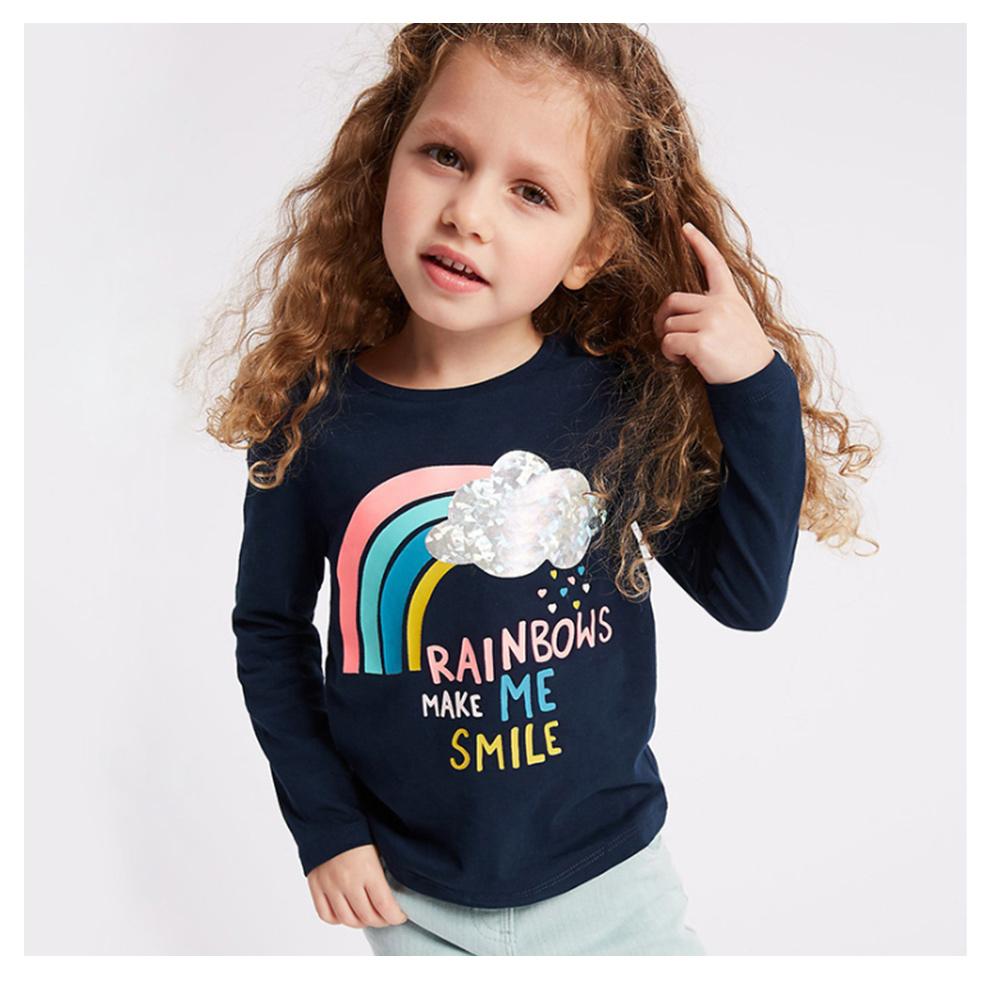 歐美little maven 歐美風格女童純棉長袖T恤-雨後彩虹
