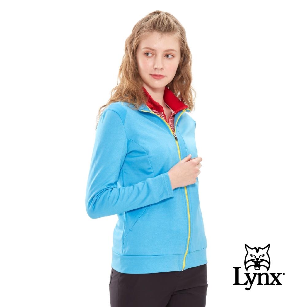 【Lynx Golf】女款鋪棉麻花針織特殊剪裁設計長袖外套-亮藍色