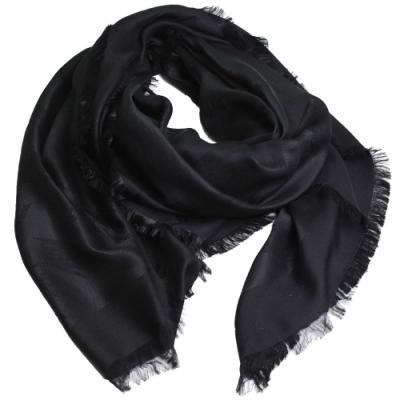 EMPORIO ARMANI 義大利製繽紛LOGO圖騰高質感薄造型圍巾(黑系)