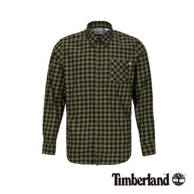 Timberland 男款青綠色磨毛棉格紋長袖襯衫|A1ZMJ