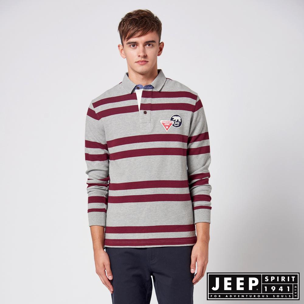 JEEP 條紋長袖保溫吸濕排汗POLO衫 -深紫紅色