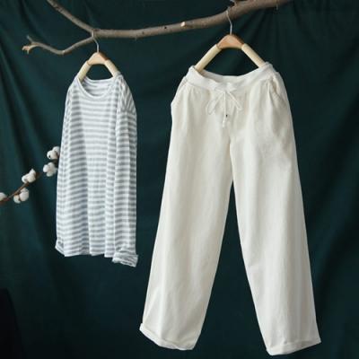 斜紋純棉螺紋鬆緊腰休閒顯瘦九分寬管褲-設計所在