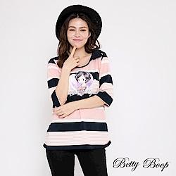 Betty Boop貝蒂 蝴蝶結肩飾條紋柔棉上衣(共兩色)