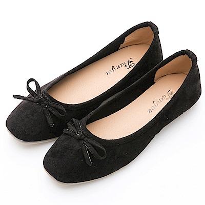 River&Moon女伶風采.細絨小方頭平底芭蕾娃娃鞋-黑