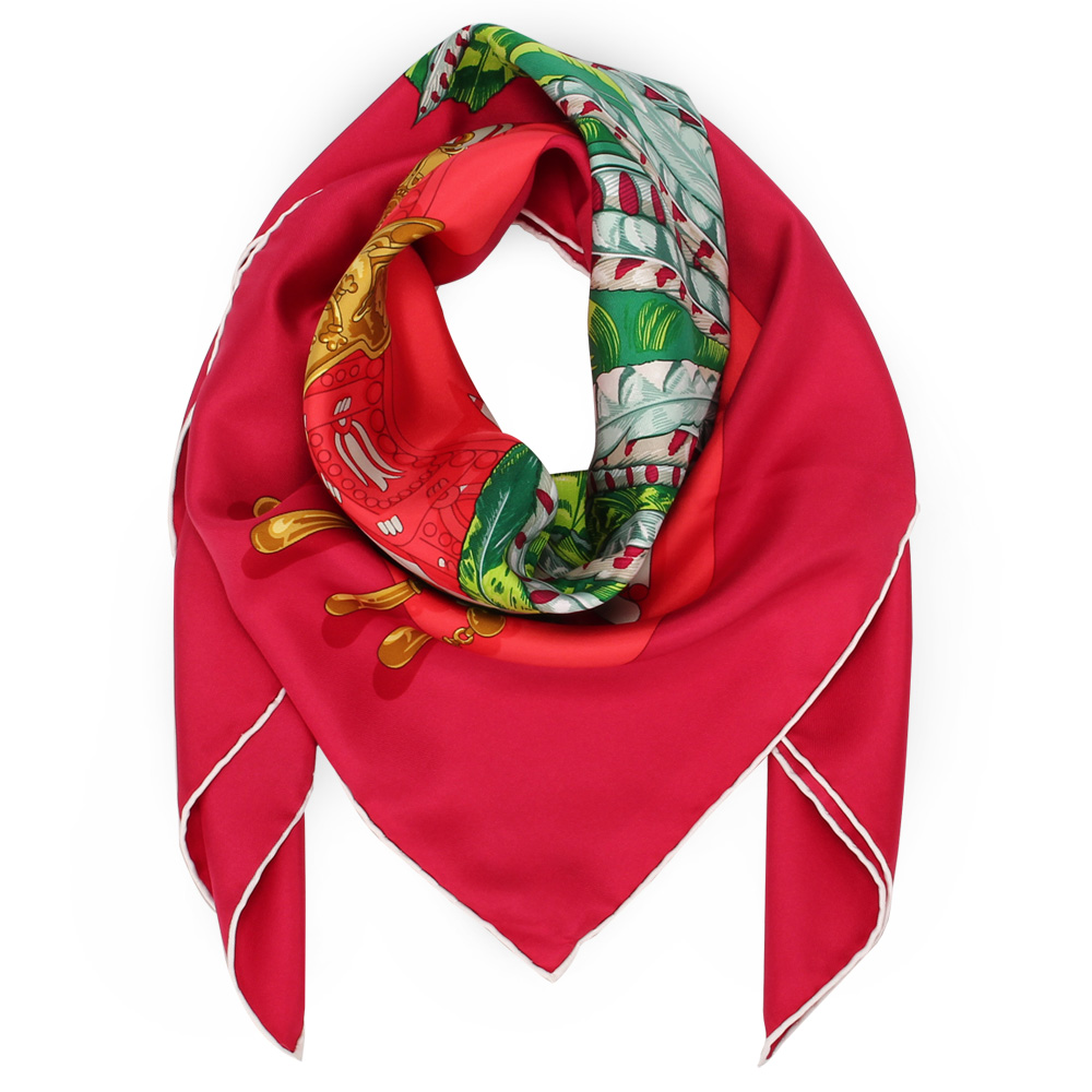 HERMES MEXIQUE 阿茲特克文明真絲披肩方型絲巾-紅色