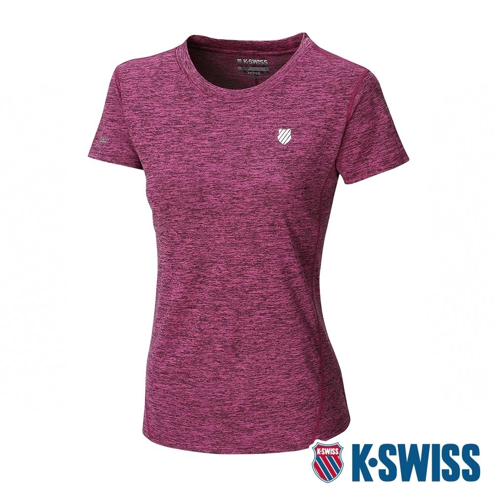 K-SWISS Small Neon Logo Tee排汗T恤-女-莓紅