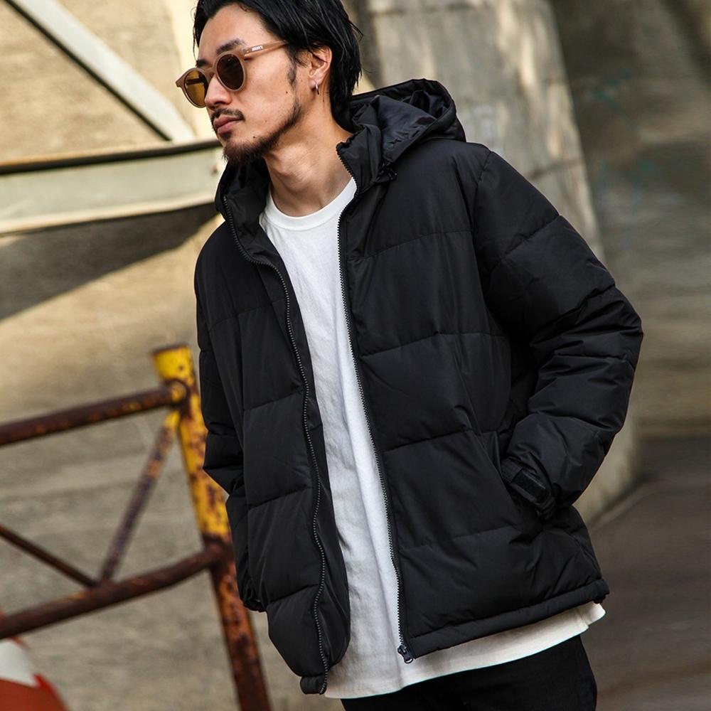 鋪棉夾克外套仿羽絨連帽外套(6色) -ZIP日本男裝