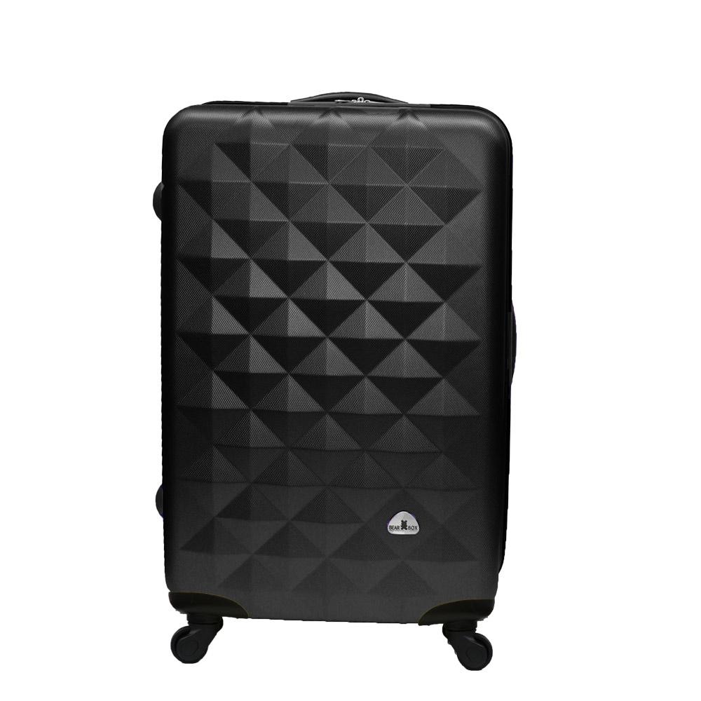 Bear Box 立體菱格晶鑽系列經典20吋 輕硬殼旅行箱行李箱-黑色