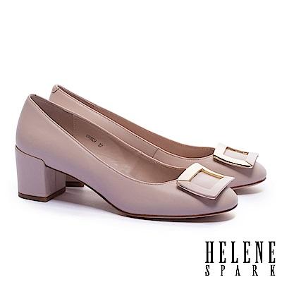 高跟鞋 HELENE SPARK 都會時尚拼色金屬方釦全真皮高跟鞋-粉