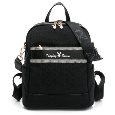 PLAYBOY - 後背包可肩背 Square方格兔緹花系列 - 黑色