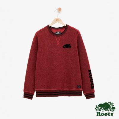 男裝ROOTS 派普刷毛圓領上衣-紅色