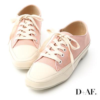 D+AF 自在首選.小方頭多色帆布休閒鞋*粉