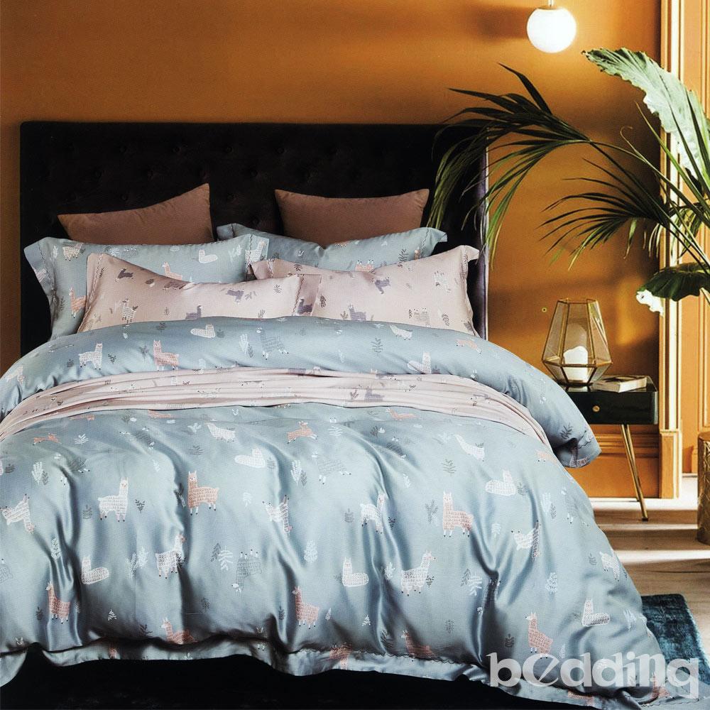 BEDDING-100%天絲萊賽爾-雙人薄床包枕套三件組-清心派-藍