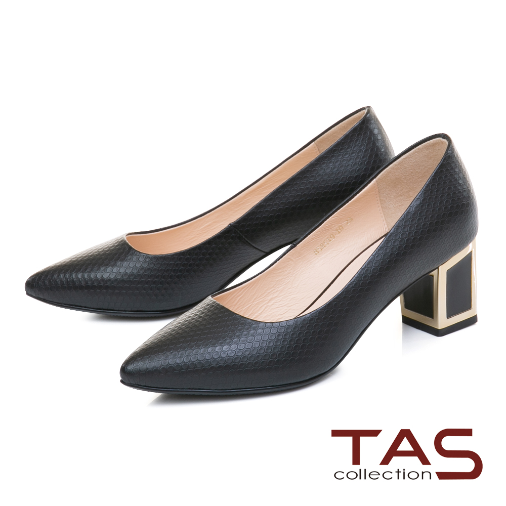 TAS素面壓紋金屬滾邊後跟尖頭粗跟鞋-質感黑