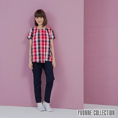 YVONNE泡泡格紋短袖上衣- 莓紅