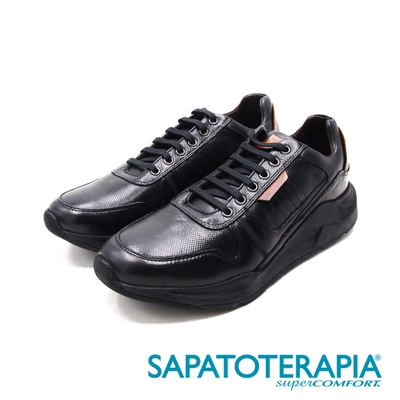 SAPATOTERAPIA(男)輕量感 皮革車縫休閒鞋 男鞋-黑