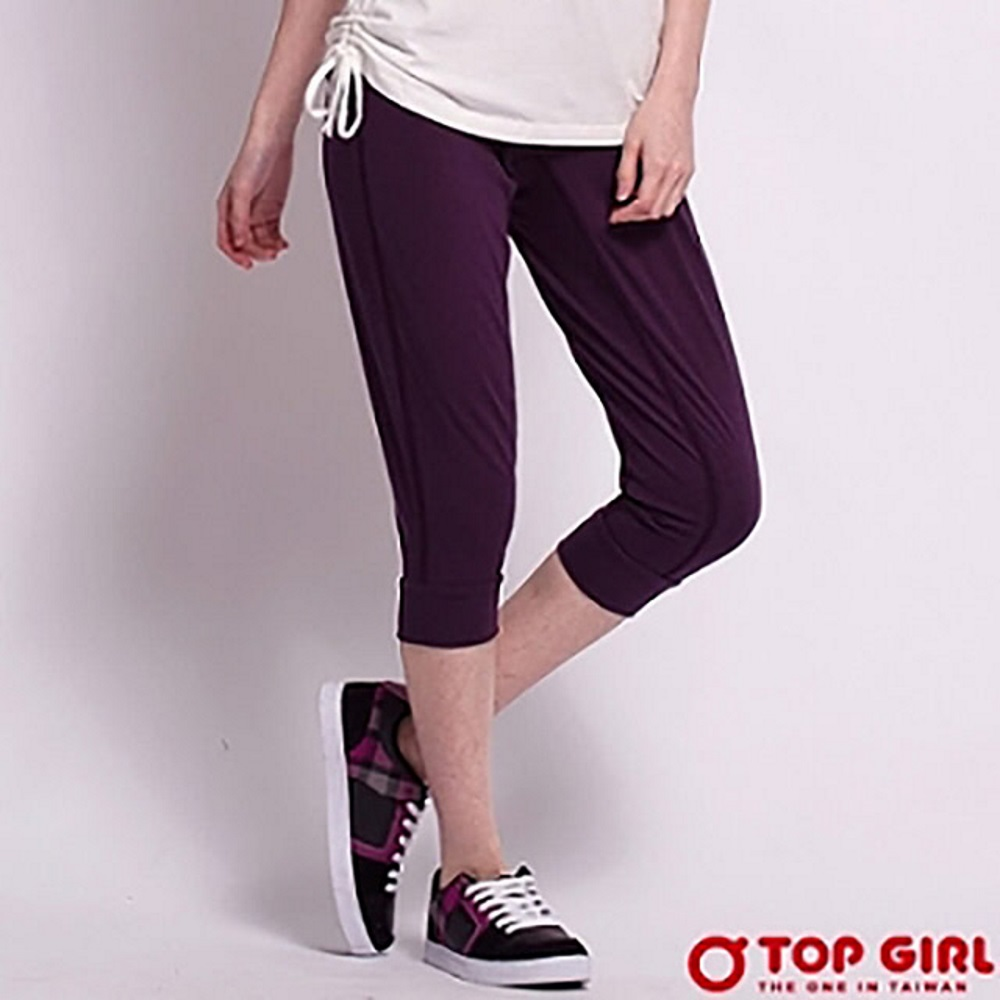 【TOP GIRL】極簡時尚運動休閒七分褲 - 深情紫