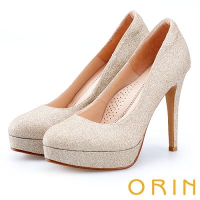 ORIN 晚宴婚嫁首選 華麗閃耀金蔥布面高跟鞋-裸色