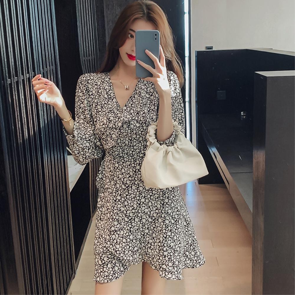 DABI 韓國風收腰潮V領氣質雪紡碎花不規則長袖洋裝