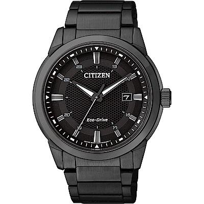 CITIZEN星辰Eco-Drive 都會時尚光動能腕錶-黑/42mm
