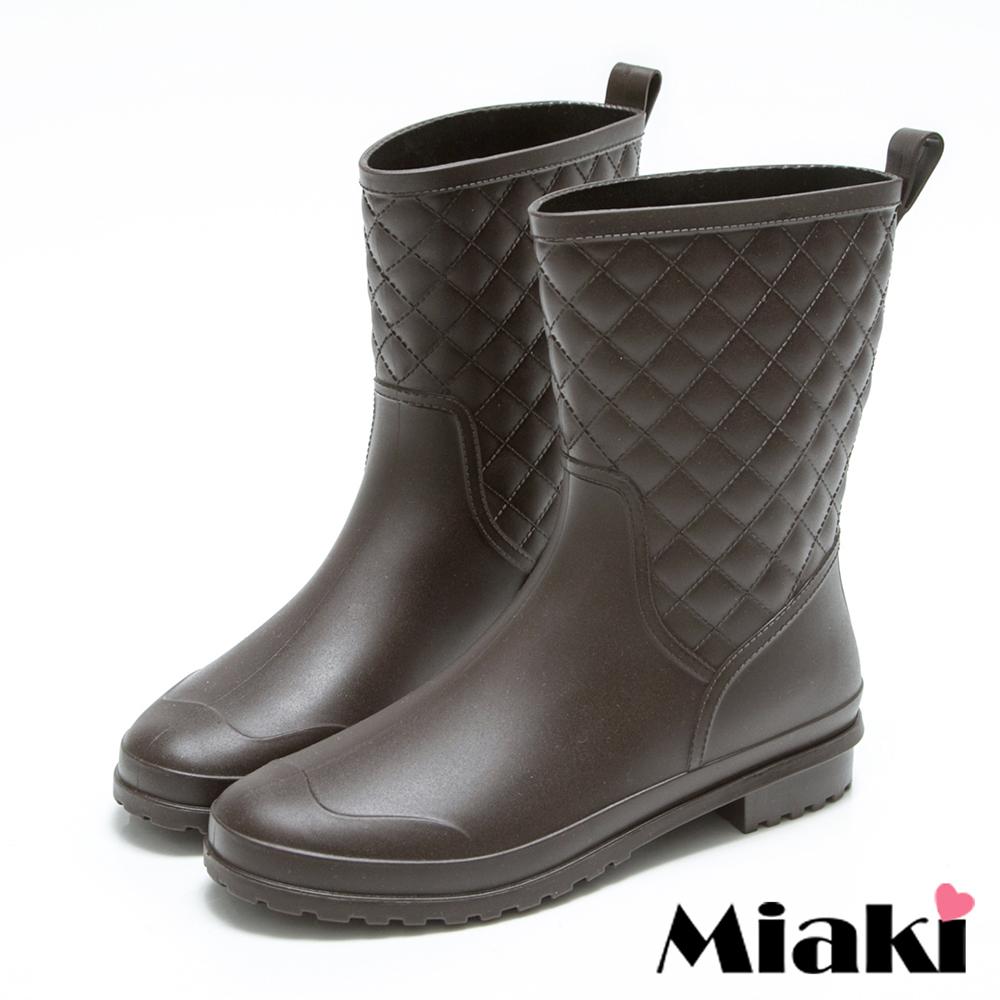 Miaki-雨靴韓皮質菱形格紋中筒低跟雨鞋-咖啡