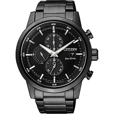 CITIZEN 星辰 光動能城市計時碼錶-黑/43mm(CA0615-59E)