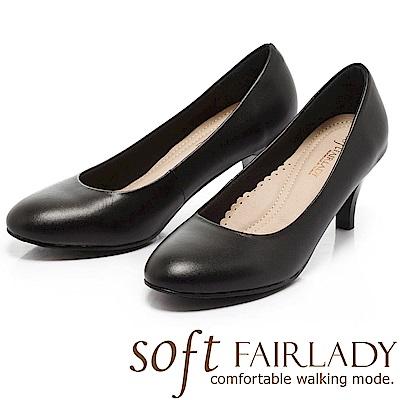 Fair Lady 超級上班者聯盟 典雅百搭圓頭中跟鞋 黑